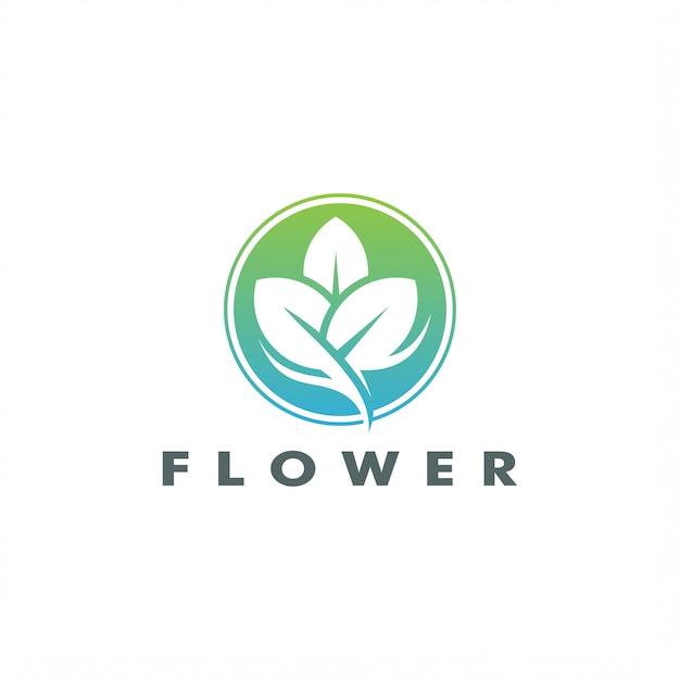 Abstrato elegante árvore folha flor logo vector design Vetor Premium