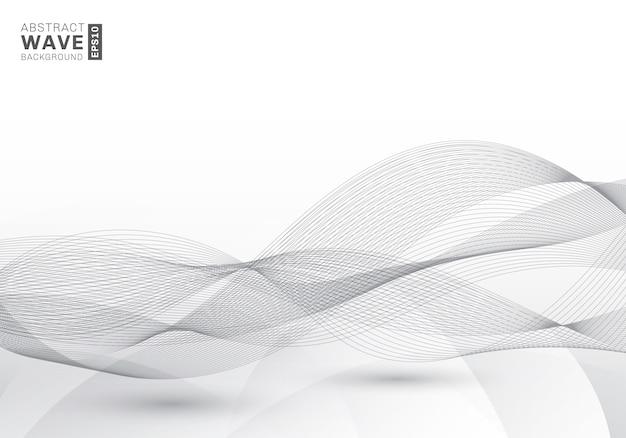 Abstrato elegante linhas cinza ondas de fundo Vetor Premium