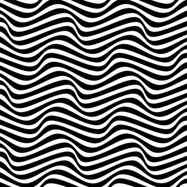 Abstrato em preto e branco com padrão de linhas onduladas Vetor Premium