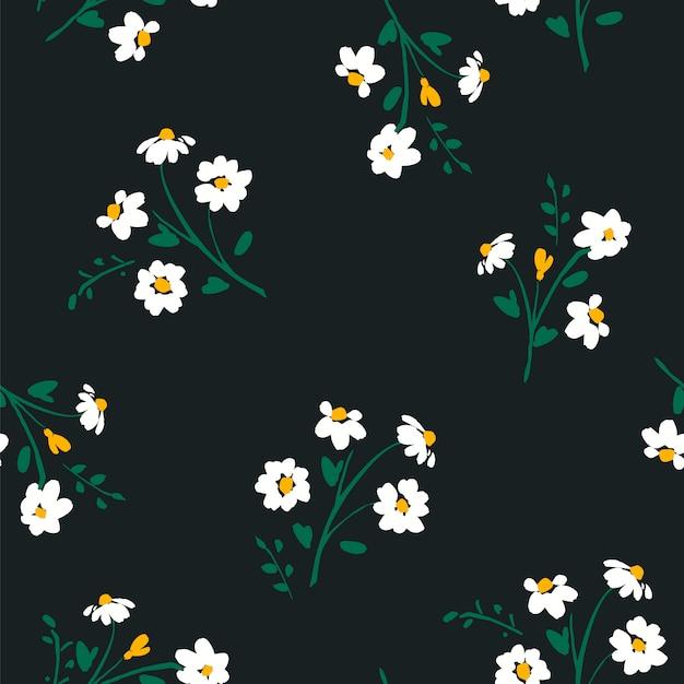 Abstrato floral padrão sem emenda com camomila. texturas desenhadas mão na moda. Vetor Premium