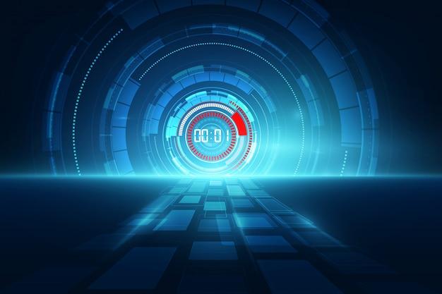 Abstrato futurista tecnologia fundo com conceito de temporizador número digital Vetor Premium