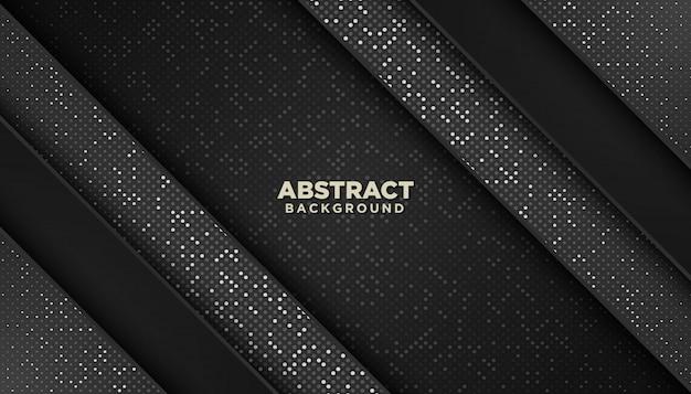 Abstrato geométrico preto com brilhos pontos decoração de elementos Vetor Premium