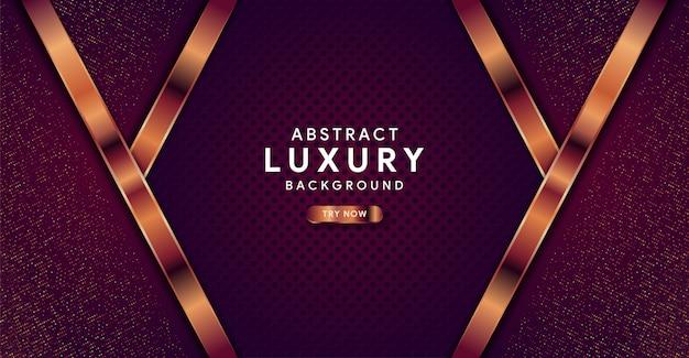 Abstrato luxo fundo roxo escuro com linha dourada Vetor Premium