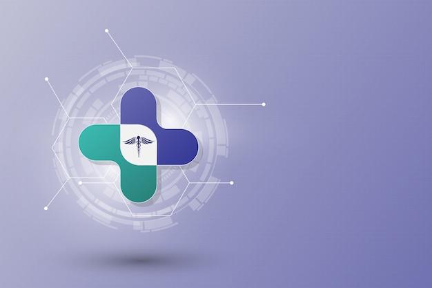 Abstrato modelo de conceito de inovação de cuidados de saúde Vetor Premium