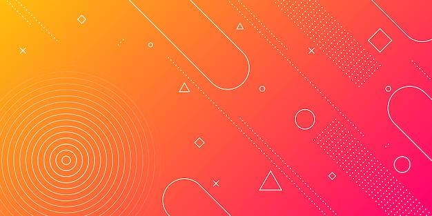 Abstrato moderno com elementos de memphis em gradientes de vermelhos e laranja e retrô com temas Vetor Premium