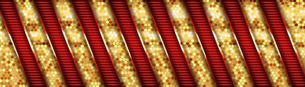 Abstrato moderno futurista de design de sobreposição luxuoso de direção metálica vermelha e dourada Vetor Premium