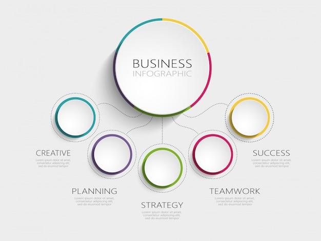 Abstrato moderno modelo infográfico 3d com cinco etapas para o sucesso Vetor Premium