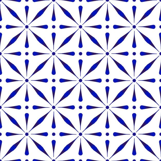 Abstrato moderno padrão azul e branco, porcelana cerâmica floral sem emenda Vetor Premium