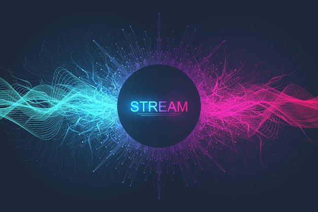 Abstrato movimento dinâmico linhas e pontos de fundo com partículas coloridas. fundo de streaming digital, fluxo de onda. fundo de fluxo de plexo. tecnologia de big data, ilustração Vetor Premium