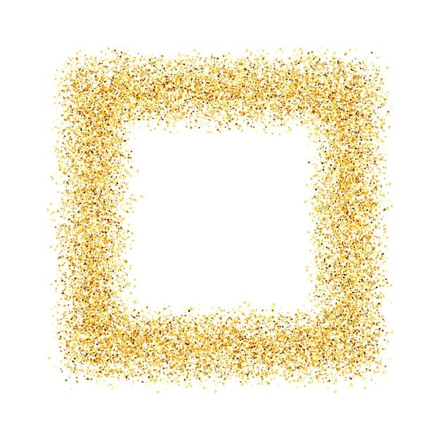 Abstrato, ouro, areia, poeira, brilho, moldura, quadrado Vetor Premium