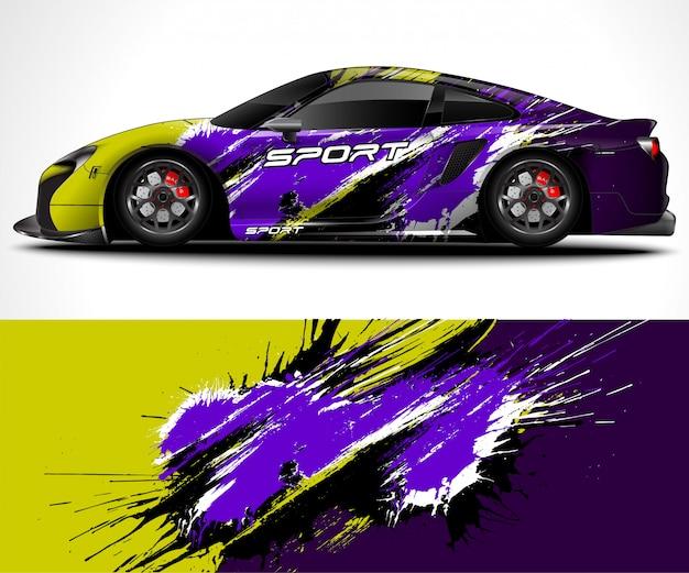Abstrato para corridas sport car wrap design e decoração do veículo Vetor Premium