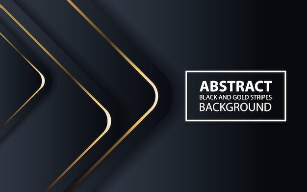 Abstrato preto com linhas douradas Vetor Premium