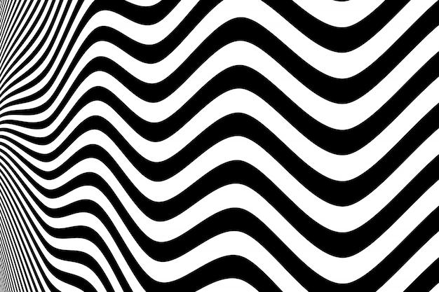 Abstrato preto e branco padrão de fundo ondulado Vetor Premium