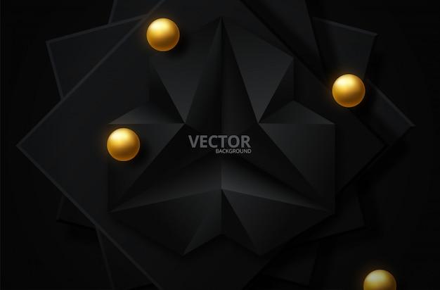 Abstrato preto e dourado Vetor Premium