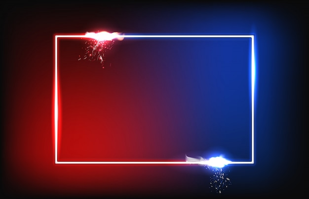 Abstrato vermelho e azul com moldura brilhante Vetor Premium