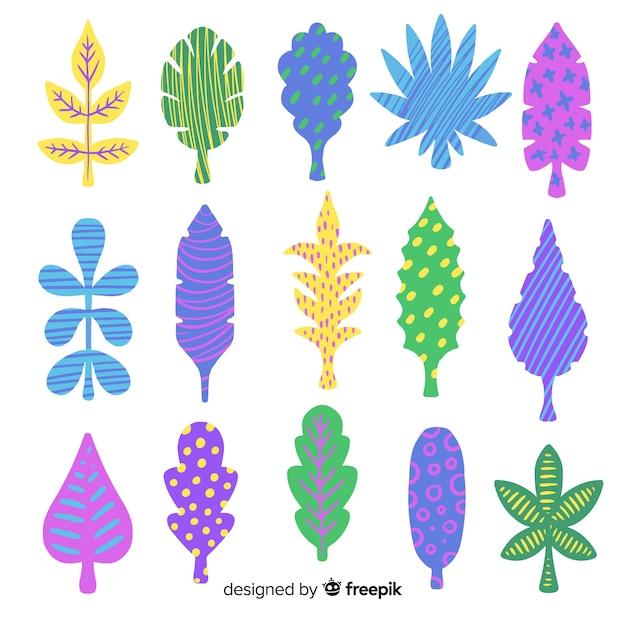 Abstratos, mão, desenhado, flores, e, folhas Vetor grátis
