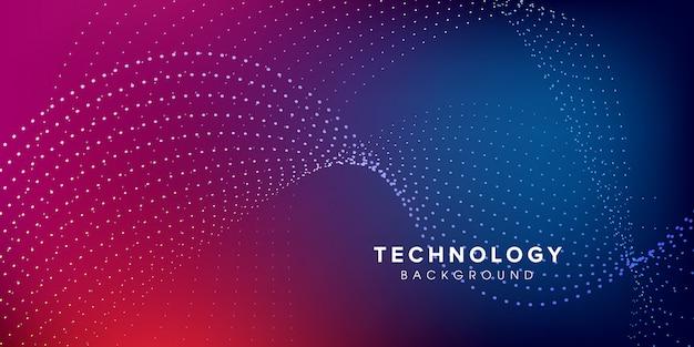 Abstratos, onda, tecnologia, glowing, fundo Vetor Premium