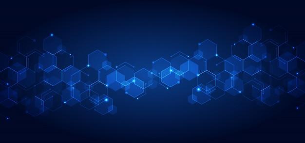 Abstratos tecnologia conectar padrão geométrico azul hexágonos Vetor Premium