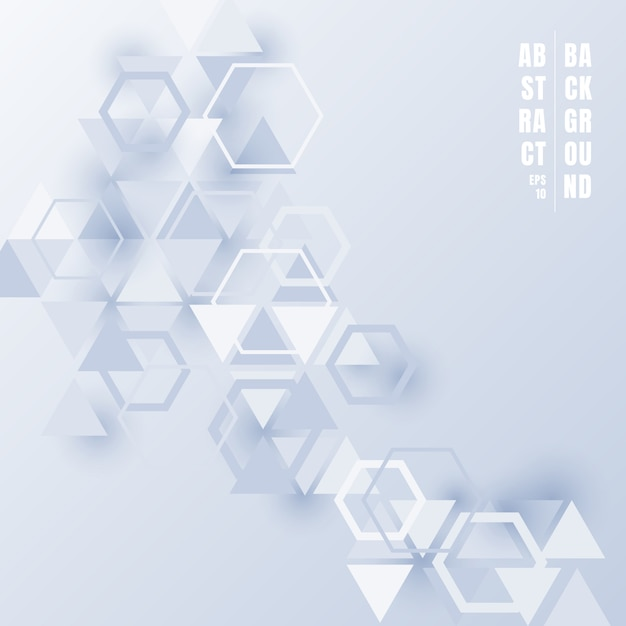 Abstratos, triângulos, e, hexágonos, fundo branco Vetor Premium