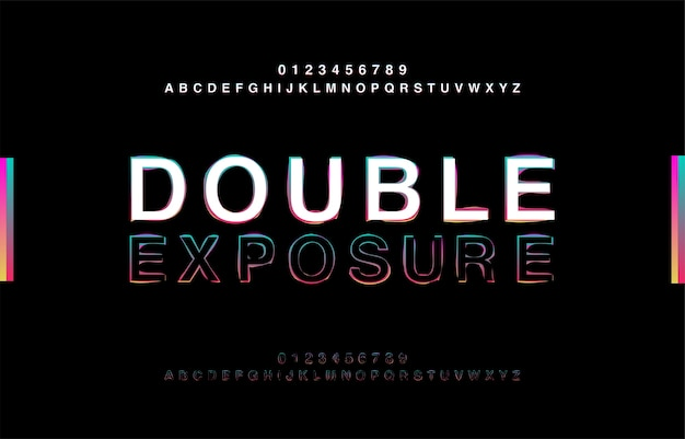 Abstrct alfabeto dupla exposição glitch estilo moderno Vetor Premium