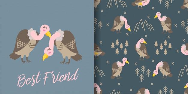 Abutre fofo dos desenhos animados animais sem costura padrão com conjunto de cartão de ilustração Vetor Premium
