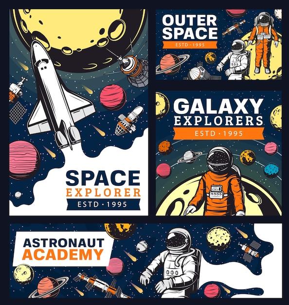 Academia de astronautas, exploração do espaço e da galáxia com banners retrô de ônibus Vetor Premium