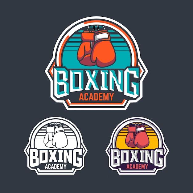 Academia de boxe distintivo retrô logotipo emblema design com pacote de ilustração de boxer Vetor Premium