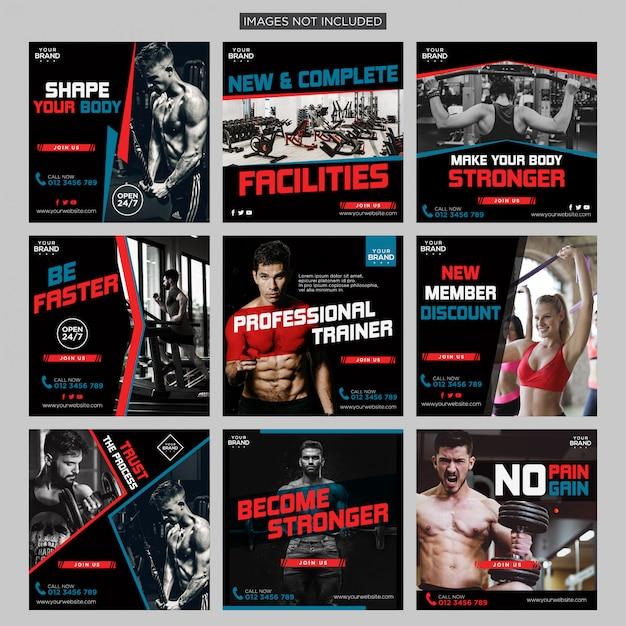 Academia de fitness social mídia instagram post pack modelo de design vector premium Vetor Premium