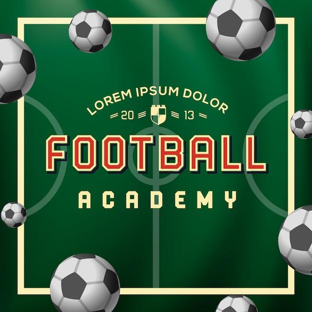 Academia de futebol, bola de futebol no campo, ilustração Vetor Premium
