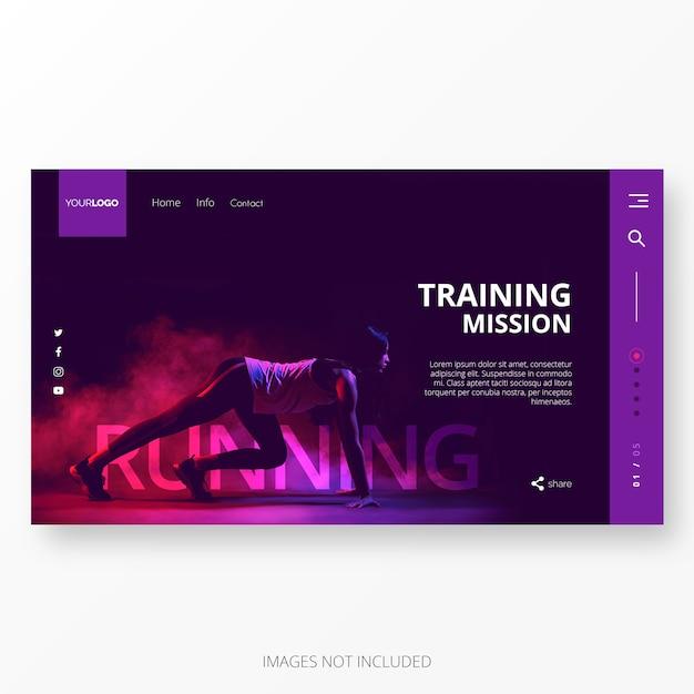 Academia e modelo de página de destino de treinamento Vetor grátis