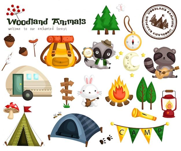 Acampamento animal da floresta Vetor Premium