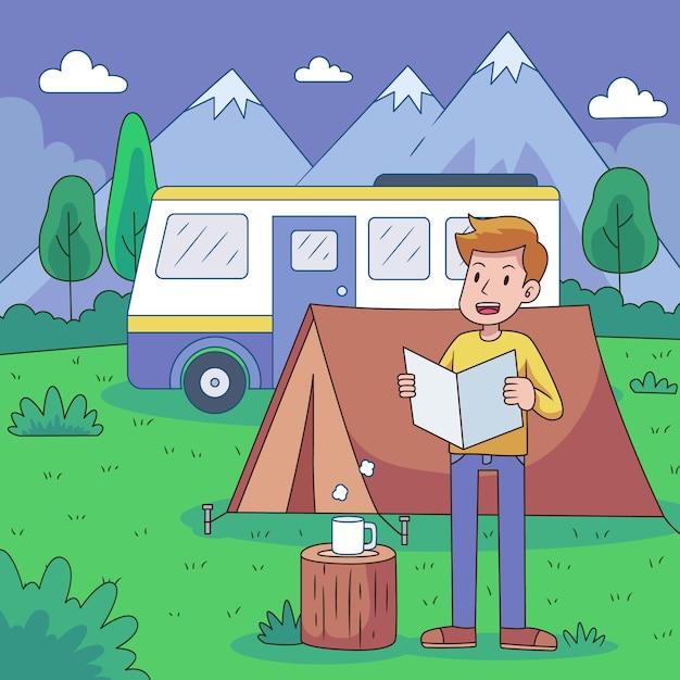 Acampamento com conceito de caravana Vetor grátis