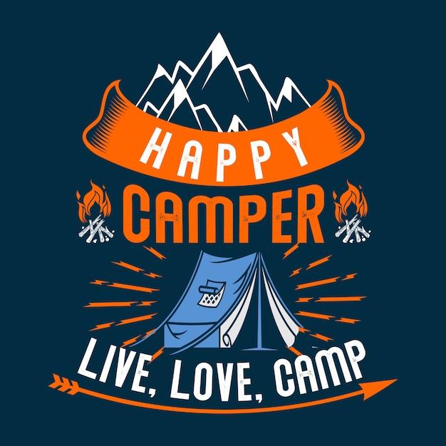 Acampamento de amor ao vivo campista feliz Vetor Premium