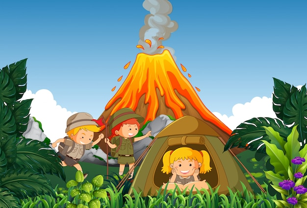 Acampamento de crianças acampamento ao lado do vulcão Vetor Premium