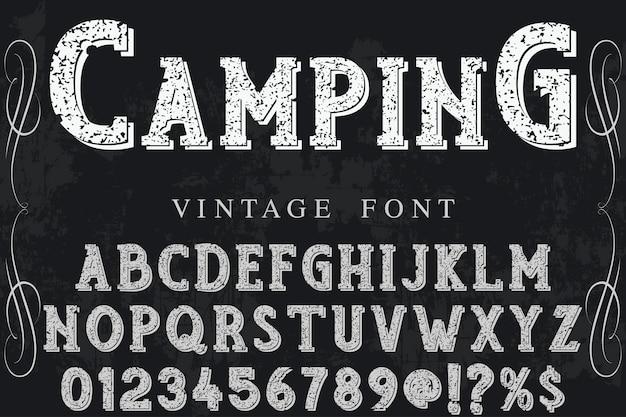 Acampamento de design de rótulo de tipografia Vetor Premium