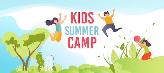 Acampamento de férias de crianças na faixa de texto de férias Vetor Premium