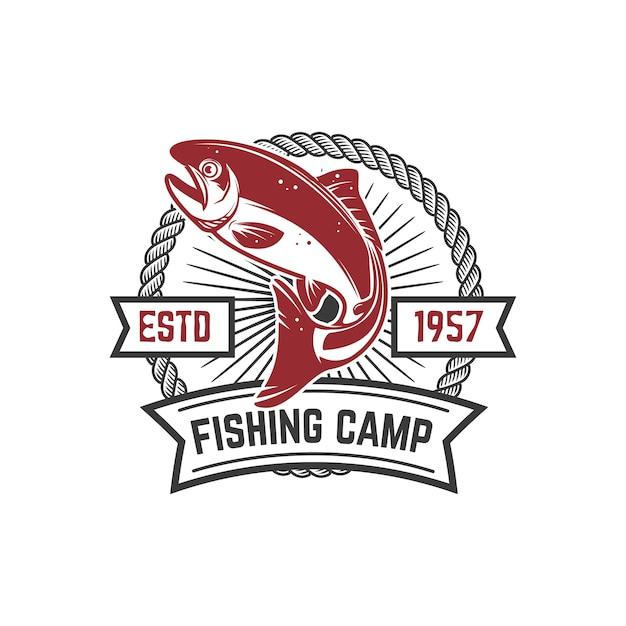 Acampamento de pesca. modelo de emblema com peixes salmão. elemento para logotipo, etiqueta, sinal. imagem Vetor Premium