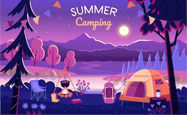 Acampamento de verão à noite. Vetor Premium