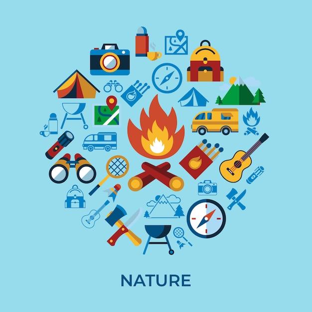 Acampamento de verão coleção de ícones de atividades esportivas Vetor Premium