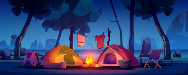 Acampamento de verão com barraca, fogueira e lago Vetor grátis