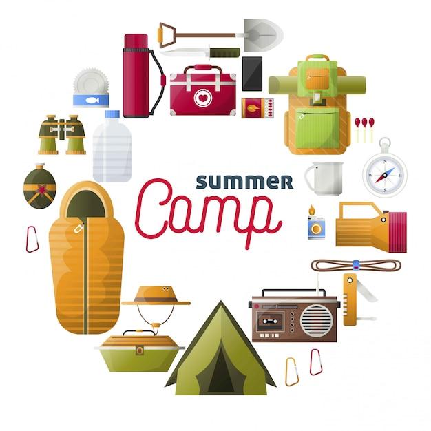 Acampamento de verão composição de ferramentas de campismo Vetor Premium