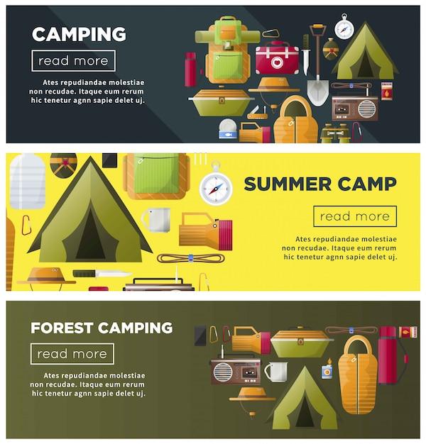 Acampamento de verão e banners de acampamento na floresta Vetor Premium