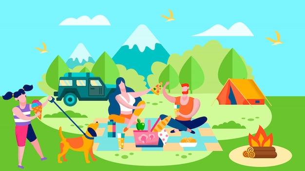 Acampamento de verão e piquenique em floresta dos desenhos animados Vetor Premium
