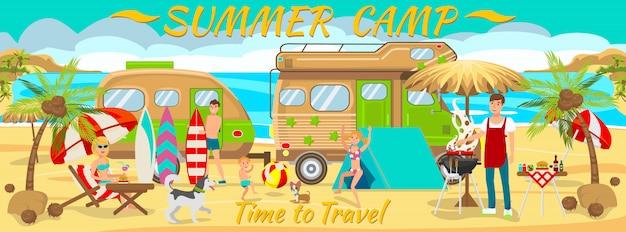 Acampamento de verão na praia Vetor Premium