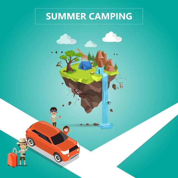 Acampamento de verão Vetor Premium