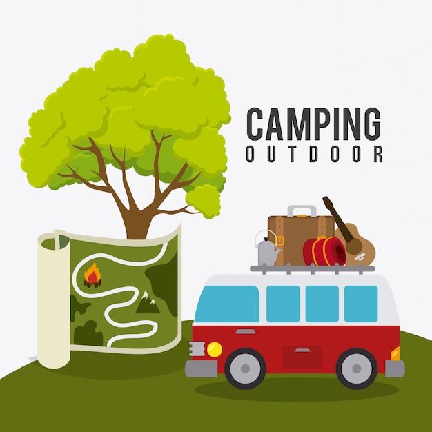 Acampamento de viagem e férias. Vetor grátis