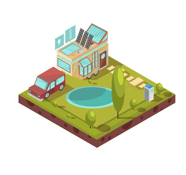 Acampamento e casa móvel com ícones de painéis solares de telhado de vidro com tecnologias perto de ilustração vetorial isométrica de lagoa Vetor grátis