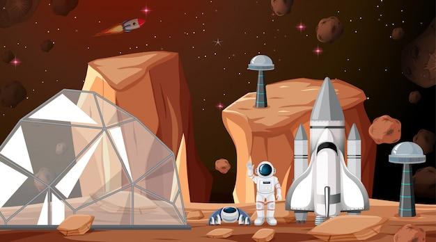 Acampamento em cena de espaço ou plano de fundo Vetor grátis