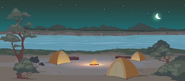 Acampamento na cor lisa à noite. recreação na natureza. lazer ativo de verão. viagem de acampamento. paisagem dos desenhos animados 2d de barracas com rio e floresta à meia-noite no fundo Vetor Premium