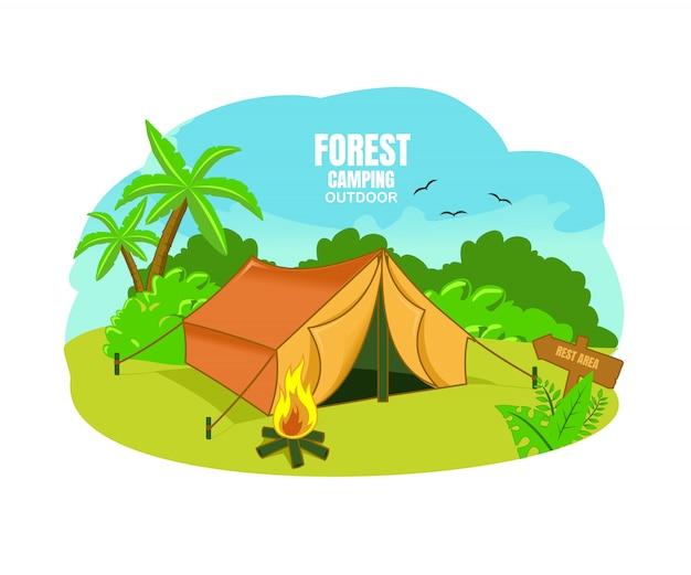 Acampamento na floresta Vetor Premium